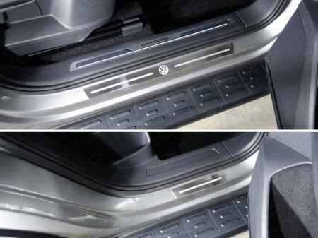 Volkswagen Tiguan 2017- Накладки на пороги внешние (лист шлифованный логотип VW) 4шт